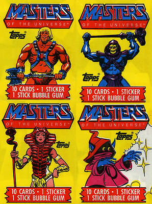 MASTERS of THE UNIVERSE vintage WAX PACK WRAPPER Card set of 4 topps 1984 EMPTY