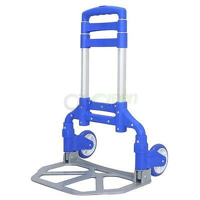 165.35 lbs Folding Luggage Cart Dolly Rubber Wheel Hand Push Trolley Travel Blue
