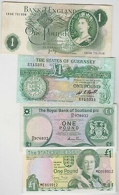 Three £1 Banknotes From Jersey, Guernsey & Scotland In Good Very Fine Condition