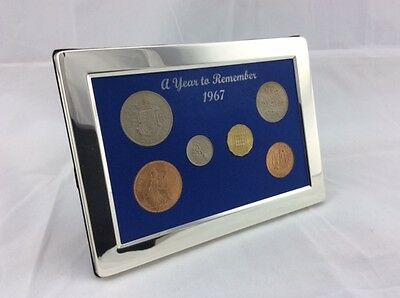 1967 Luxury, Silver Framed, Coin Year Gift Boxed Set - 50th Birthday/Anniversary