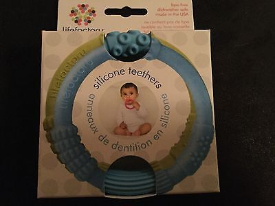 Lifefactory - Silicone Teether, 2 pk, Lt blue/Spring Green - Multi Sensory