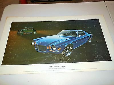 1972 Camaro Rs Coupe Original Dealer Showroom Poster With 1925 Chevrolet Inset!!