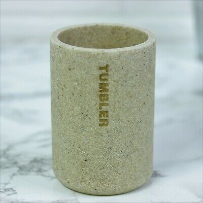 Brown Stone Resin Bathroom Mug Tumbler Toothbrush Toothpaste Rack Storage Holder