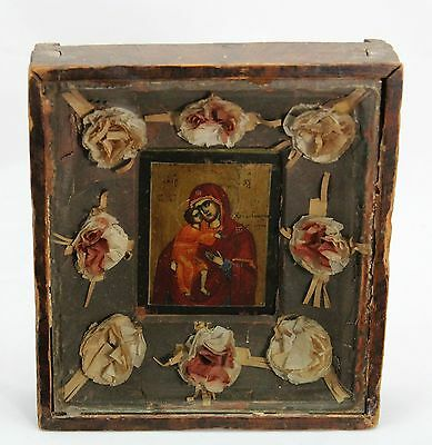 antique early 19th C framed Orthodox Icon of Holy Mary & Jesus, glass wood paper