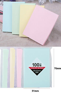"""76mm x 51mm 3""""x2"""" Pastel Removable Sticky Memo Notes Pack of 100 Quality Eco"""