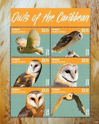Owls of the Caribbean Bird Stamp Sheet (Common Barn Own/Tyto Alba) 2014 Canouan