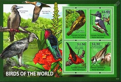 Birds of the World Stamp Sheet (Weaver/Kingfisher/Plover/Scarlet Tanager)