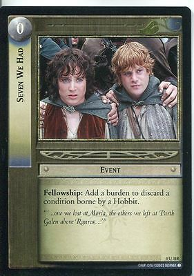 Lord Of The Rings CCG Card TTT 4.U318 Seven We Had