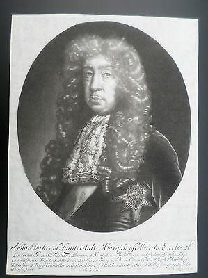 Rare 17Th Century Mezzotint Portrait By Isaac Beckett - John Duke Of Lauderdale