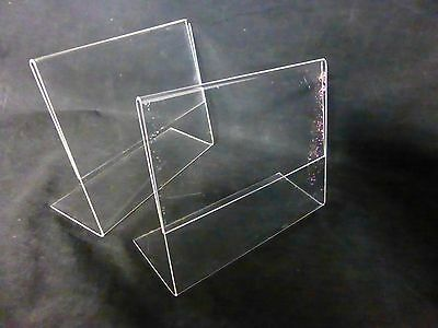 USED Lot of 2 Clear Slanted Acrylic 7 x 5.5 Sign Flyer Menu Holder Display