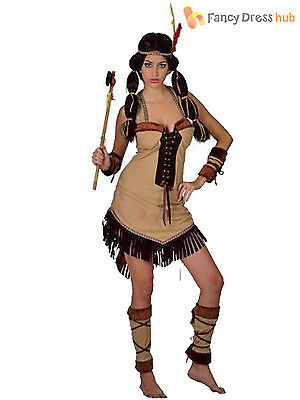 Ladies Red Indian Costume Adults Native American Fancy Dress Womens Hen Outfit