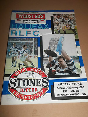 Halifax V Hull Kr ~ Rugby League Programme January 1988