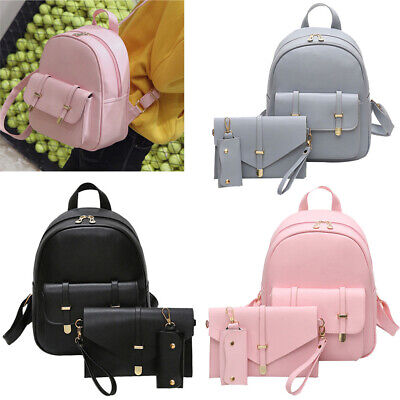 3PCS Women Girl Backpack Travel PU Leather Handbag Rucksack Shoulder School Bag
