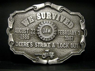 John Deere UAW Employee Union Strike Lock Out Belt Buckle 1987 Ltd Ed tractor jd
