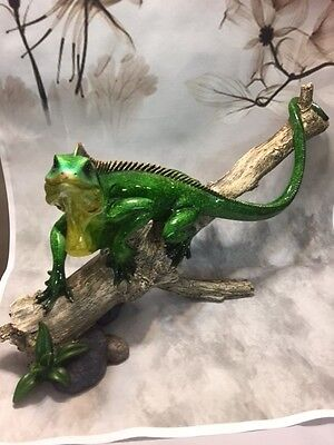 Green Lizard on Branch Reptile Figurine - Collectible Animal Figurine