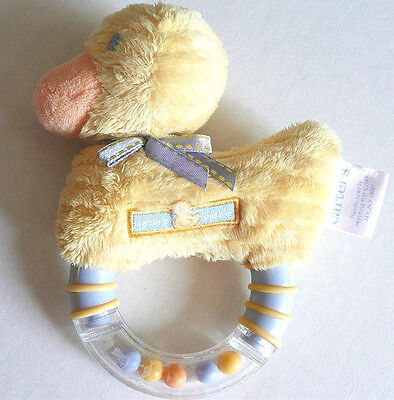 Carters Yellow Chenille Duckie Baby Rattle Lavender Soft Toy Duck Boy Girl