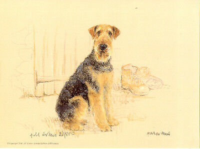 Airedale Terrier Limited Edition Art Print by UK Artist Gill Evans
