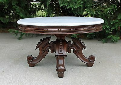 Victorian Thomas Brooks Walnut Oval Marble Top Coffee / Cocktail Table c1870's