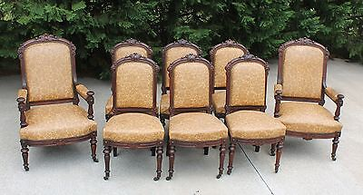 8 Walnut Victorian Renaissance Revival Dining Chairs~2 Arm & 6 Side~Fruit & Nuts