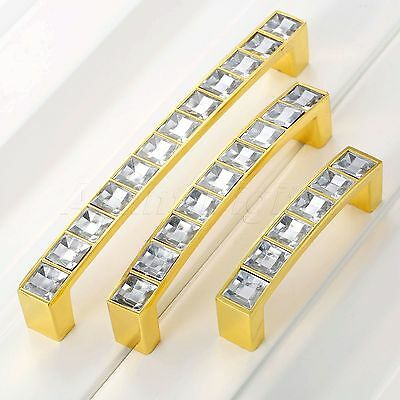 Modern Shiny Crystal Glass Wardrobe Drawer Closet Pull Handles Knobs Zinc Alloy