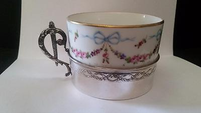 Antique French Silver Gaston Bardies Cup Sevres Porcelan Insert