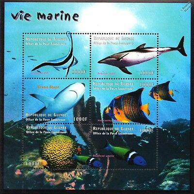 Sea Marine Life (Great White Shark/Coral/Wrasse/Fish) Stamp Sheet (2011 Guinea)