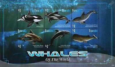 Whales of the World (Orca/Pilot/Sperm/Killer Whale) Stamp Sheet (2011 Tuvalu)
