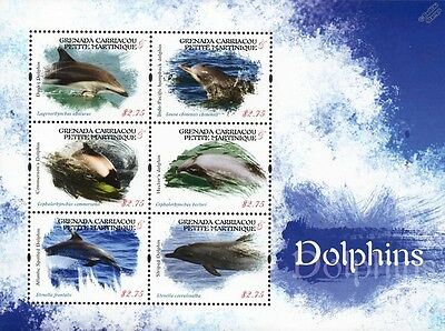 DOLPHINS (Dusky/Spotted/Striped/Hector's) Marine Life Stamp Sheet (2013 Grenada)