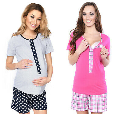 2 in1 Maternity & nursing 100% cotton 2-peace Pyjama Set size breastfeeding 4030