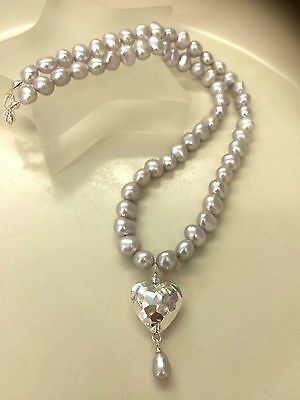 Designer Grey Freshwater Pearl Necklace Sterling Silver Hammered Heart Pendant