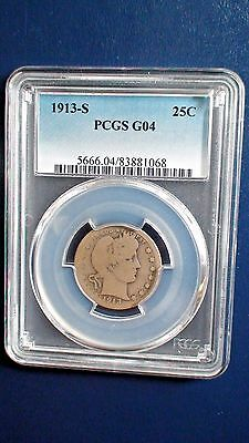 1913 S Barber Quarter PCGS G04 Silver 25c Good Coin Key Date