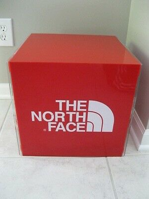 The North Face Advertising Cube Sign Table 4 Sided Plastic Jacket Display