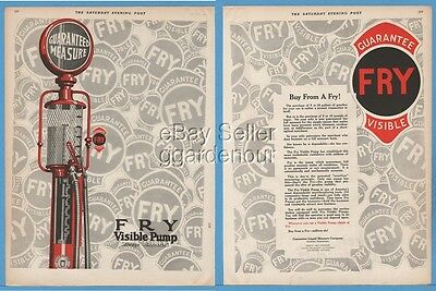 1924 Fry Visible Gas Pump Guarantee Liquid Measure Co. Rochester PA vintage ad