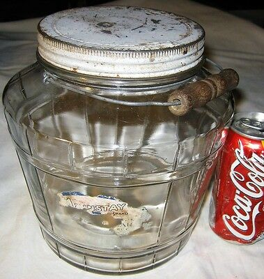 Antique Usa Country Kitchen Food Art Deco Hoosier Glass Pickle Jar Tin Storage
