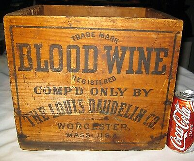 Antique Usa Country Primitive Apothecary Blood Wine Medicine Bottle Wood Art Box