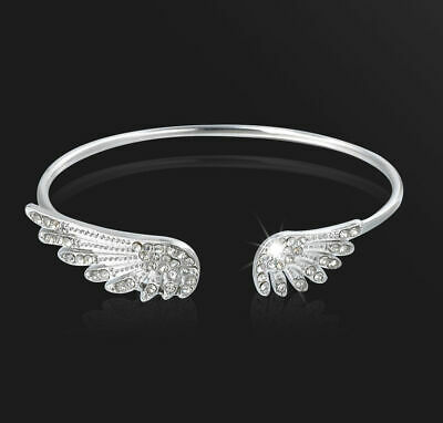 Fashion Women Silver Plated Angel Wings Bracelet Jewelry Charm Cuff Bangle Gift