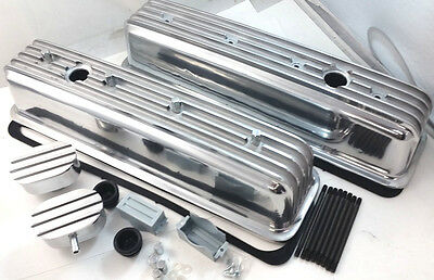 SB Chevy SBC Polished Tall Finned Center Bolt Aluminum Valve Cover W/ Breathers