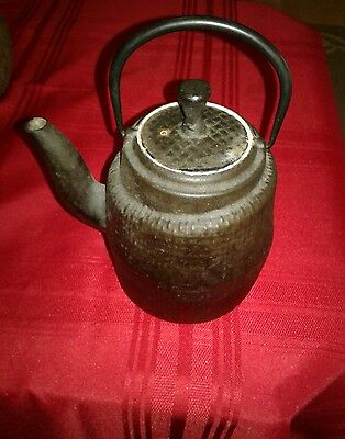 Antique Cast Iron SIGNED ASIAN/Japanese TEAPOT Rustic Primitive Piece