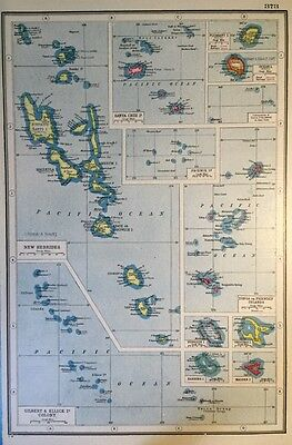 Vintage Antique Original 1920 Map Of The British Islands In The Pacific Print