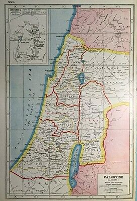 Vintage Antique Original 1920 Map Of Ancient Palestine & Jerusalem Print
