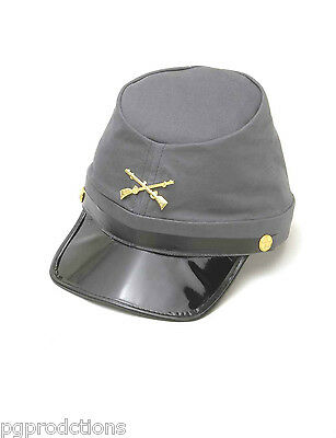 REBEL GRAY CONFEDERATE KEPI HAT South Civil War Costume Cap Adult Rifles Slouch
