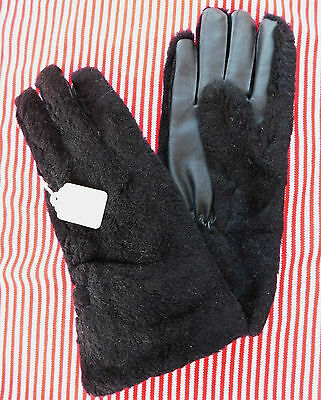 Ladies vintage black furry gloves UNUSED English 1960s Size 7 7.5 Faux leather