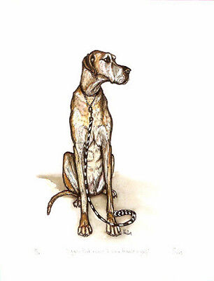 Great Dane Limited Edition Art Print from UK Artist Elle Wilson Walk Myself