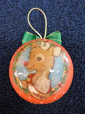"""Beautiful Vintage RUDOLPH RED NOSED REINDEER Christmas Ornament 3.5"""" (o1882)"""