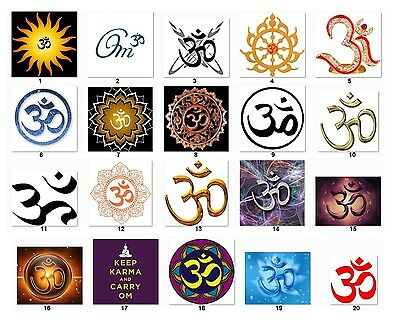 "30 Square Stickers Envelope Seals Favor Tags Buddhist ""OM"" Buy3 get1 free (bom1)"