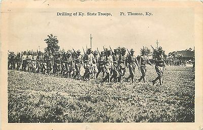 """1916 Postmark On """"Drilling Of KY State Troops, Ft Thomas, KY Postcard"""
