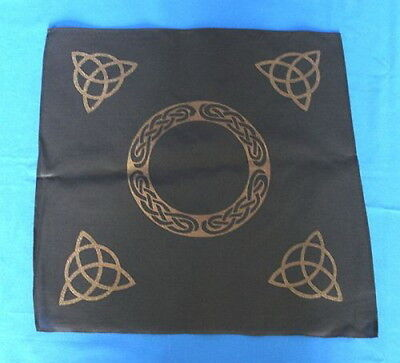 BLACK & GOLD TRIQUETRA ALTAR CLOTH 450mm Wicca Pagan Witch Goth