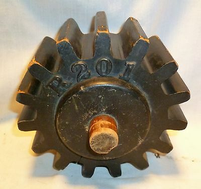 "Wood Foundry Pattern Mold Mould 6 1/2"" Gear Cog Steampunk Industrial Vtg"