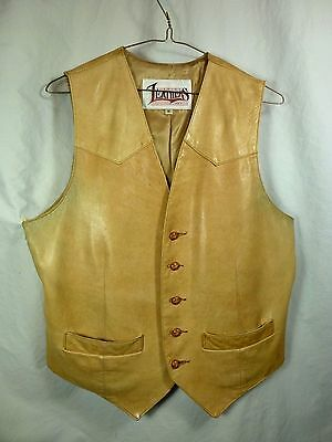 MENS TAN LEATHER VEST by DIAMOND LEATHERS sz S/M chest 40 Made In USA