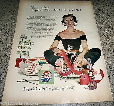 1954 PEPSI-COLA Soda Pop AD Wrapping bird cage for Christmas